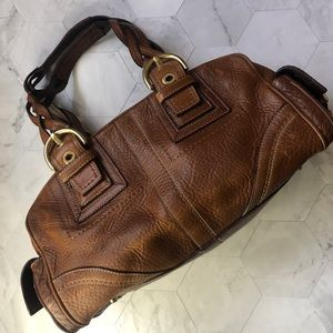 Coach authentic cognac leather satchel purse